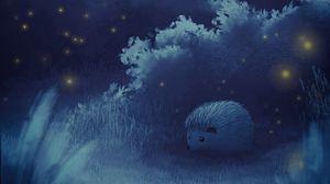 Превью обои ежик, луна, ночь, лес, арт