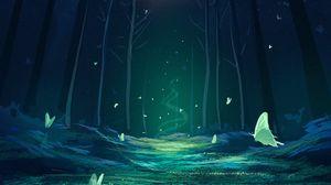 Превью обои лес, волшебство, бабочки, фэнтези, арт