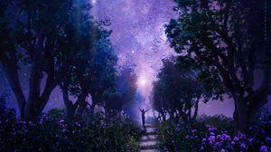 Превью обои лес, звездное небо, арт, фиолетовый, сказочный
