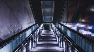 Превью обои лестница, неон, ступени, даль