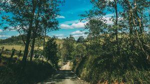 Превью обои лето, дорога, деревья, небо, солнечно