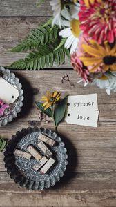 Превью обои лето, любовь, цветы, букет, надпись