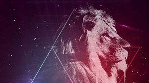 Превью обои лев, арт, звездное небо, треугольники