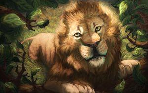 Превью обои лев, морда, арт, рисунок, хищник, царь зверей