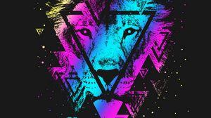 Превью обои лев, разноцветный, треугольник, арт, морда