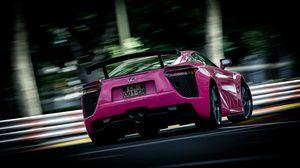 Превью обои lexus, розовый, размытость, вид сзади, спорткар