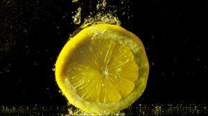 Превью обои лимон, всплеск, брызги, крупным планом