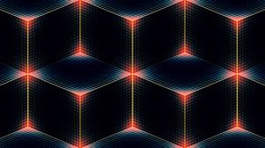 Превью обои линии, полумрак, цвет, квадрат, ромб, углы, куб