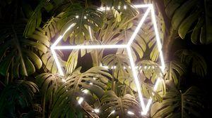 Превью обои листья, куб, неон, свечение, растение