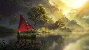 Превью обои лодка, река, арт, туман, рассвет