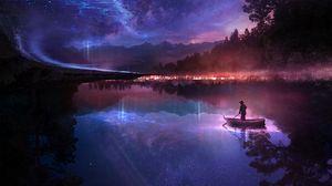 Превью обои лодка, река, одиночество, ночь, арт