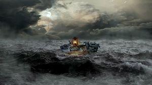 Превью обои лодка, шторм, море, волны, пасмурно