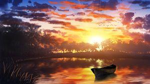 Превью обои лодка, закат, пальмы, вода, арт