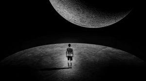 Превью обои луна, человек, одиночество, космический, внеземной, темный, черно-белый