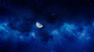 Превью обои луна, ночь, звезды, небо, полнолуние