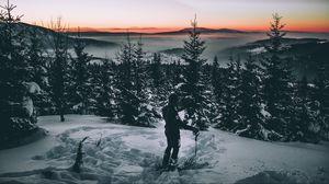 Превью обои лыжник, снег, зима, деревья