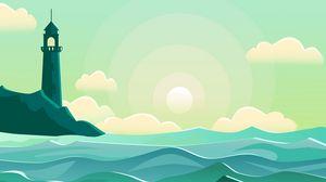 Превью обои маяк, море, волны, вектор, арт