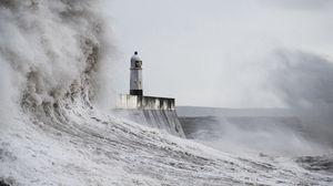 Превью обои маяк, волны, шторм, море, брызги