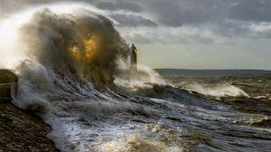 Превью обои маяк, волны, шторм, море