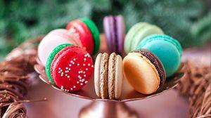 Превью обои макаруны, печенье, разноцветный, десерт