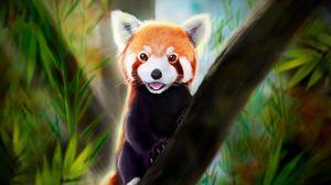 Превью обои малая панда, высунутый язык, арт, животное, милый
