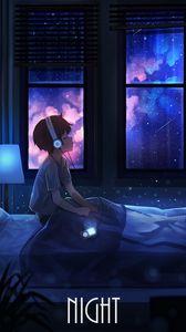 Превью обои мальчик, ночь, наушники, звездное небо, арт