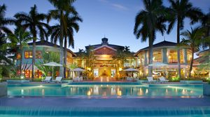 Превью обои мальдивы, тропики, дом, бассейн, курорт