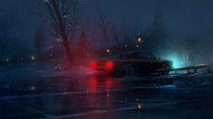 Превью обои машина, ночь, снег, свет