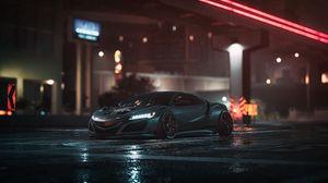 Превью обои машина, спорткар, серый, ночь, асфальт, мокрый