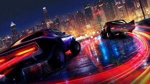 Превью обои машины, подсветка, город, движение, дождь, мокрый