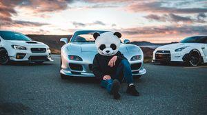 Превью обои маска, панда, mazda, автомобили, гонки