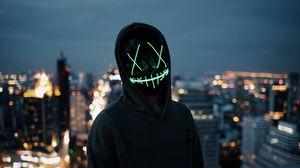 Превью обои маска, силуэт, аноним, капюшон, свет, темный