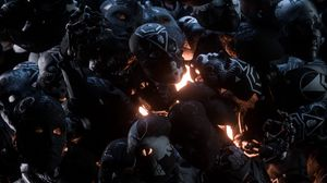 Превью обои маски, арт, темный, свет, блеск