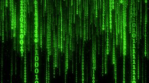 Превью обои двоичный код, код, цифры, зеленый, свечение
