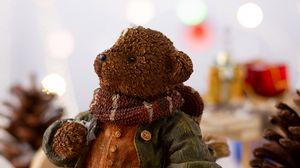 Превью обои медведь, статуэтка, рождество, новый год, игрушки