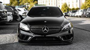 Превью обои mercedes, автомобиль, черный, вид спереди