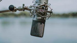 Превью обои микрофон, металл, металлический, размытость