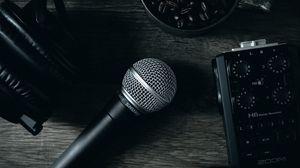 Превью обои микрофон, устройство, музыка, звук, темный