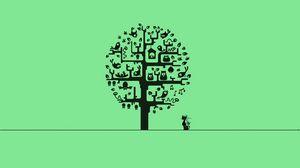Превью обои minimalism, cat, минимализм, дерево, кошка