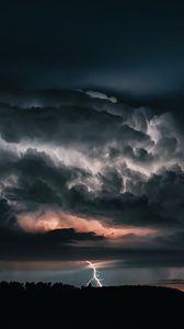 Превью обои молния, гроза, пасмурно, облака, небо