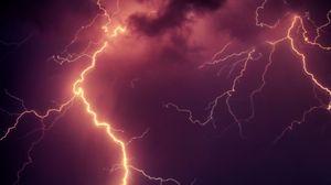 Превью обои молния, гроза, небо, пасмурно