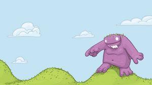 Превью обои монстр, трава, яркий, звери, вектор, облака