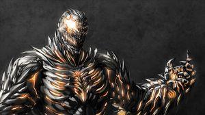Превью обои монстр, железо, рука, трещина, огонь