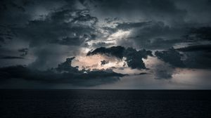 Превью обои море, облака, вода, горизонт, сумерки
