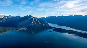 Превью обои море, озеро, остров, горы