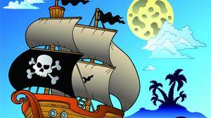 Превью обои море, парусник, пираты, пальмы, детский