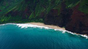 Превью обои море, скалы, мох, берег, прибой