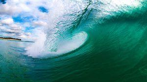 Превью обои море, волна, остров