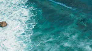 Превью обои море, волна, поверхность, вода, синий, бирюзовый