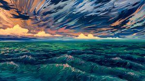 Превью обои море, волны, арт, прибой, горизонт